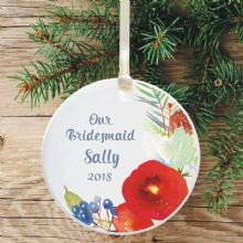 Personalised Bridesmaid Christmas Tree Decoration - Floral Design